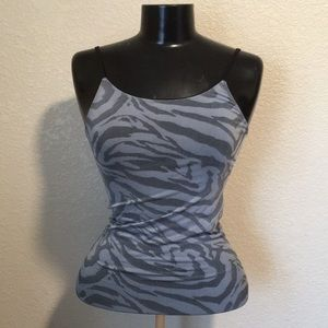 Blue + gray tiger print tank adjustable straps